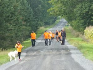 Members of Team Mulder walk up Baker Rd. during the 35th annual Terry Fox Run organized locally by the Chesterville & District Rotary Club. Zandbergen photo, Nation Valley News