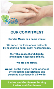 Dundas Manor's new statement includes its traditional statement at the end.