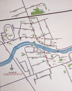 This map shows many of the proposed new decorative snowflake hydro pole locations in Chesterville, along with four stars that will go by the village's churches.