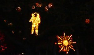 Look way up into the night sky at Upper Canada Village this month, and you'll spy this astronaut, or is that a pumpkin-naut. Zandbergen photo, Nation Valley News