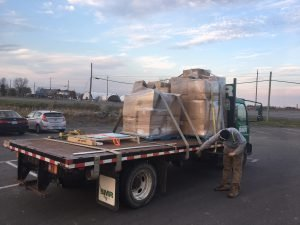 Still on the truck — the snowsuits upon arrival in Winchester. Courtesy photo
