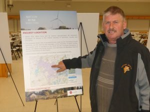 Not me! Theo Elshof points to the location of his dairy farm inside the Nation Rise Wind Farm's study area. While his property falls inside the coloured area, he wants it known that he has not signed a contract with the project developer. Zandbergen photo, Nation Valley News
