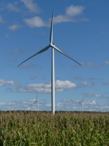 One of 10 turbines built by EDPR in the Brinston area. Zandbergen photo, Nation Valley News