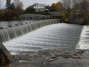 Water flowing over the Crysler Dam on Nov. 5. Zandbergen photo, Nation Valley News