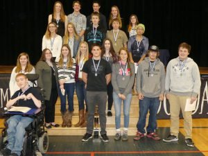 Gold and silver academic medal winners at NDDHS Foreground: Jordon Cotton. Front row, from left: Levi Seward, Jessa Cinnamon, Alexis Engwerda, Mallory Hutchinson, Samantha Cormier, Andrea Koch, Zander Mark, Evan Thompson. Second row, from left: Ashley Wheeler, Abby Geertsma, Bradley Larmour, Taylor Bazinet, Christine Idlout. Back, from left: Shaina Vandemheen, Nicholas Brugmans, Cameron Cotnam, Jessica Harrison and Jessica McMillan. See the accompanying article for the particulars. Zandbergen photo, Nation Valley News