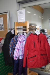 A rack of Snowsuit Fund coats at Winchester BMR, which is collecting donations to pay for the winter wear through the North Dundas Christmas Fund. Lascelle photo, Nation Valley News