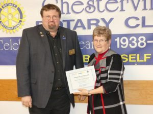 Rotary Area Governor Ken Durand Jr. of Prescott delivers a certificate of appreciation to Betty and Stan Vanden Bosch (received by Betty), Dec. 19 in Chesterville. Zandbergen photo, Nation Valley News.