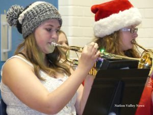 Members of the band perform during the NDDHS Christmas concert, Dec. 23. Zandbergen photo, Nation Valley News