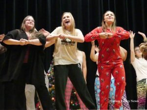 Song and dance was part of this year's Christmas show at NDDHS. Zandbergen photo, Nation Valley News