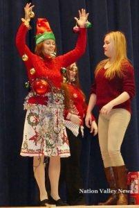 Teacher Kelly Durant also took some Yuletide decoration on her person. Zandbergen photo, Nation Valley News