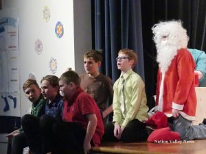 Grade 6 boys put some rock and rap into their number with Santa (back, from left): Nicholas Lorange, Hamish Nowry and Jordan Leger as Santa.. Front, from left: Quinn Prior, Landen Sweet and Riley Coates. Zandbergen photo, Nation Valley News