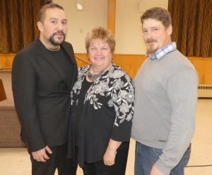 Featured judge Dustin Hiles (left) with South Dundas Mayor Evonne Delegarde and South Dundas Optimist Club President Ben Luimes. Zandbergen photo, Nation Valley News